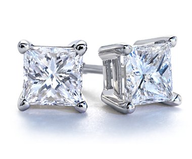 3/4 tcw. Princess Diamond Stud Earrings in White Gold H, SI2