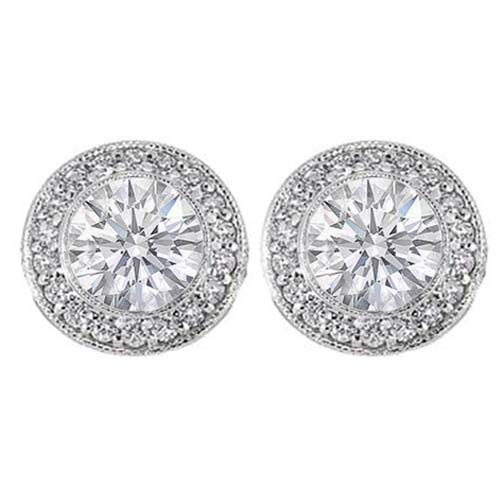 Pavé and Bezel Set Round Diamond Halo Earrings in 14 Karat White Gold H SI2, 2 tcw.