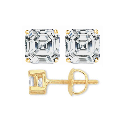 1 1/2 carats tcw. Asscher Diamond Stud Earrings in Yellow Gold H, VS2