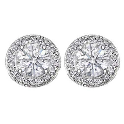 2 carats tcw. Pave Halo Round Diamond Stud Earrings in White Gold H SI2