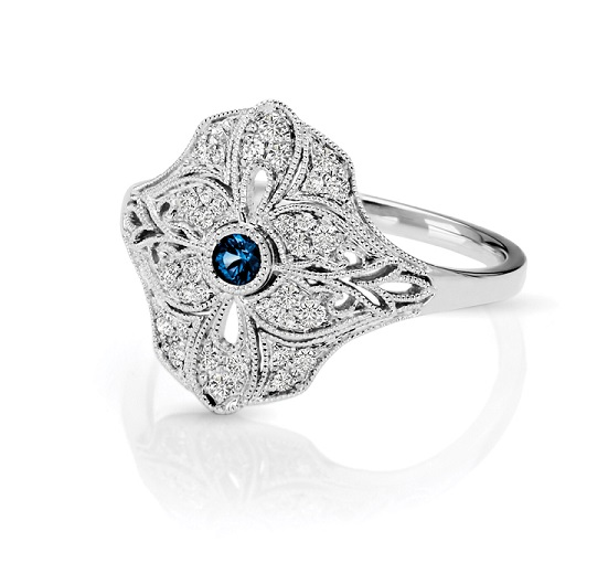 Art Deco Inspired Diamond & Blue  Sapphire Fashion Ring
