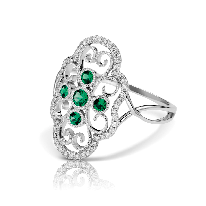 Large Open Art Deco Filigree Diamond & Emerald Split Band Fashion Ring
