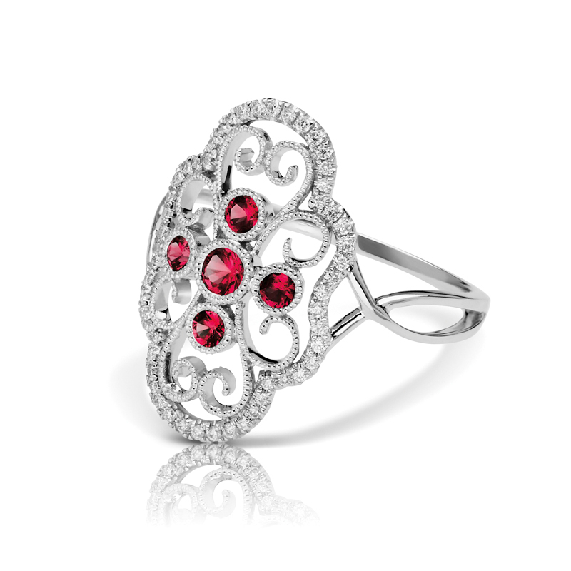 Large Open Art Deco Filigree Diamond & Rubies Split Band Fashion Ring