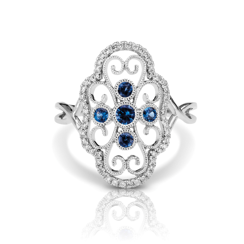 Large Open Art Deco Filigree Diamond & Blue Sapphire Split Band Fashion Ring