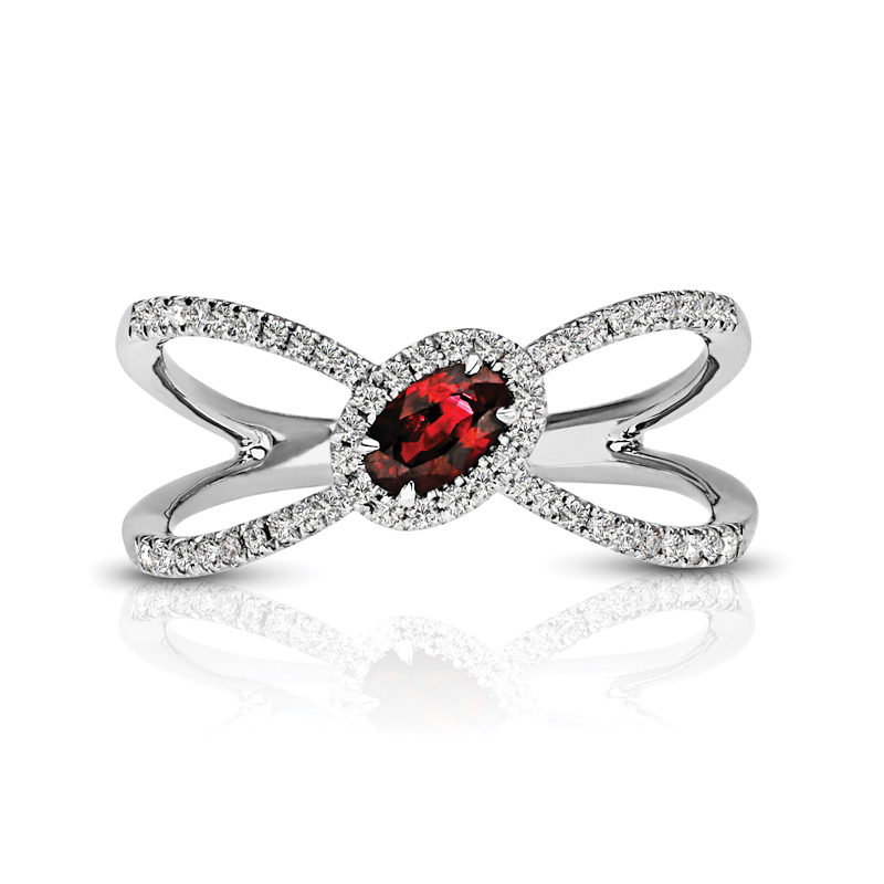 Oval Ruby Halo Diamond Ring
