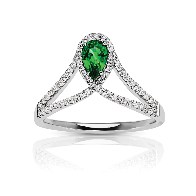 Pear Emerald Halo Ring with Split Diamond Band