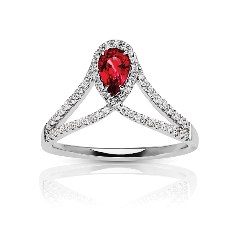 Pear Ruby Halo Ring with Split Diamond Band