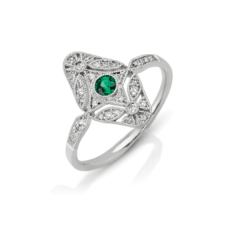 Elongated Art-Deco Emerald & Diamond Fashion Ring