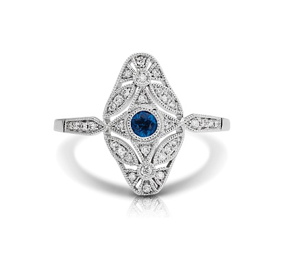 Elongated Art-Deco Sapphire & Diamond Fashion Ring