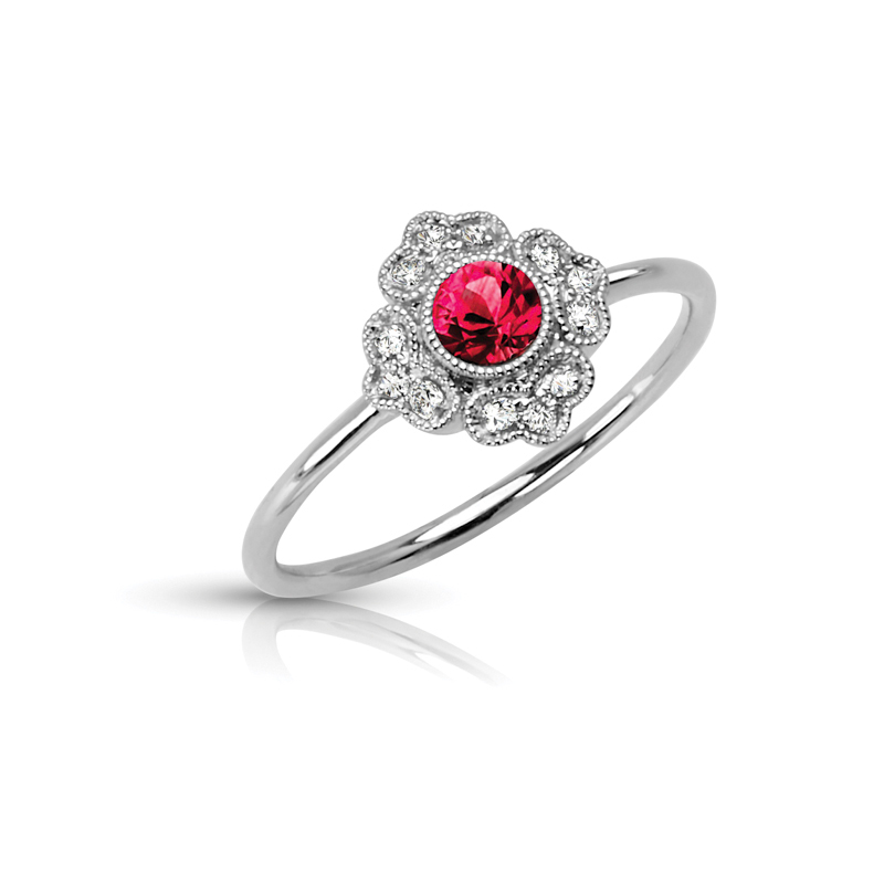 Floral Halo Petite Diamond & Ruby Ring
