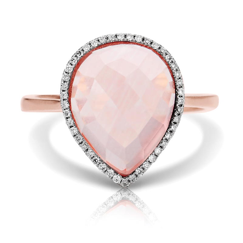 Pear Pink Quartz Halo Diamond Ring