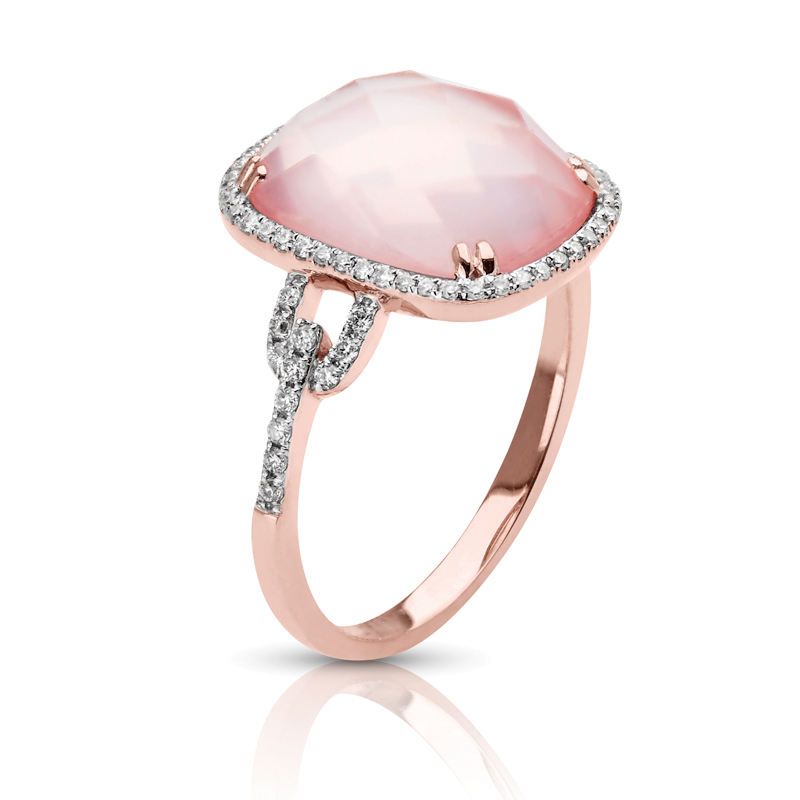 Pink Quartz in Petite Halo Diamond Ring