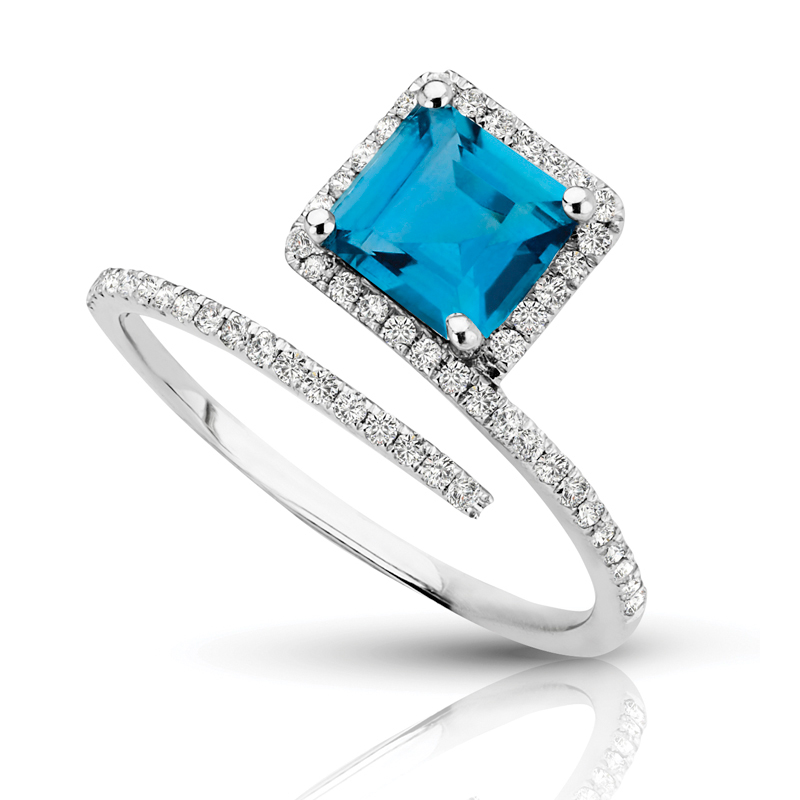 Petite Square Topaz, Halo Open Diamond Band