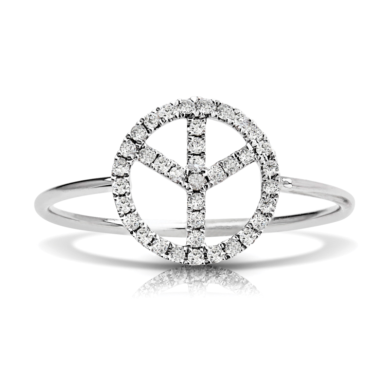 Petite Peace Sign Diamond Ring