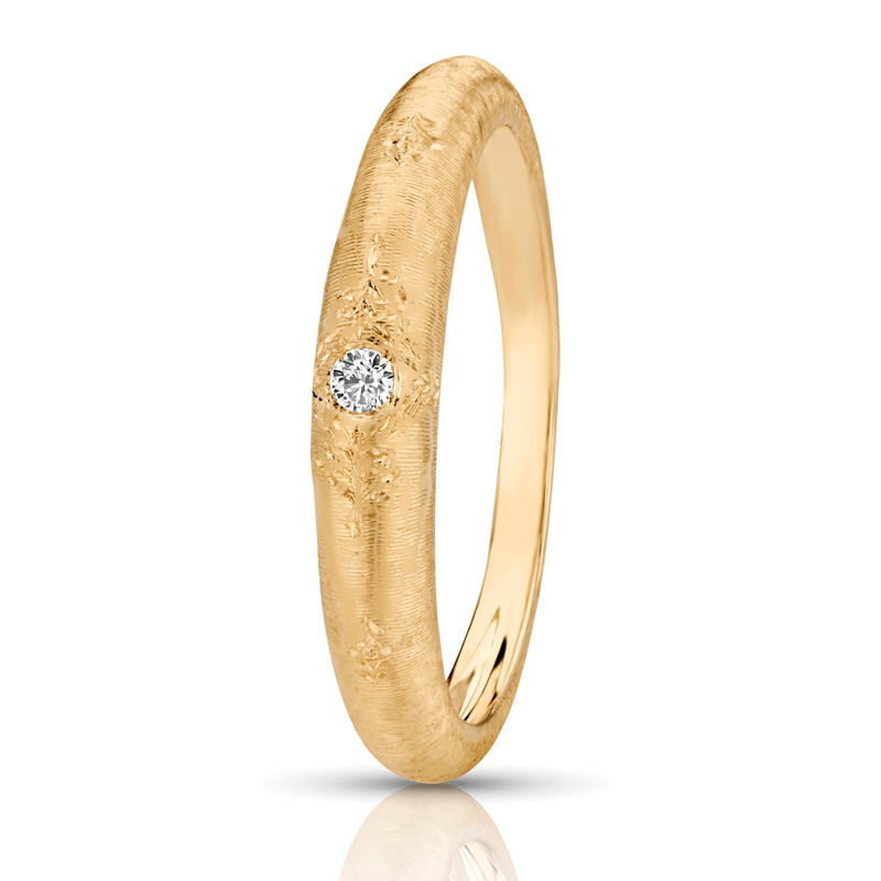 Comfort Fit Vintage Band in Yellow Gold, 0.20 tcw.
