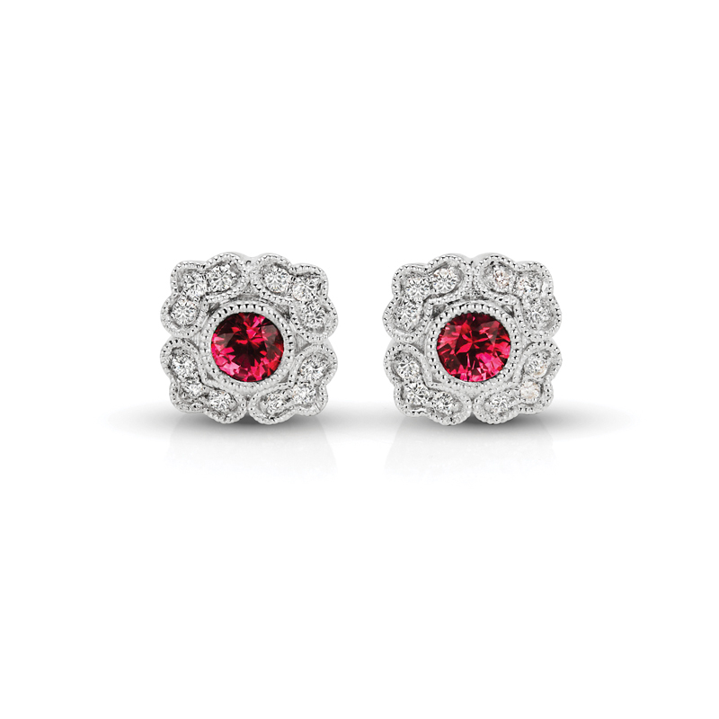 Ruby Floral & Diamond Vintage Earrings