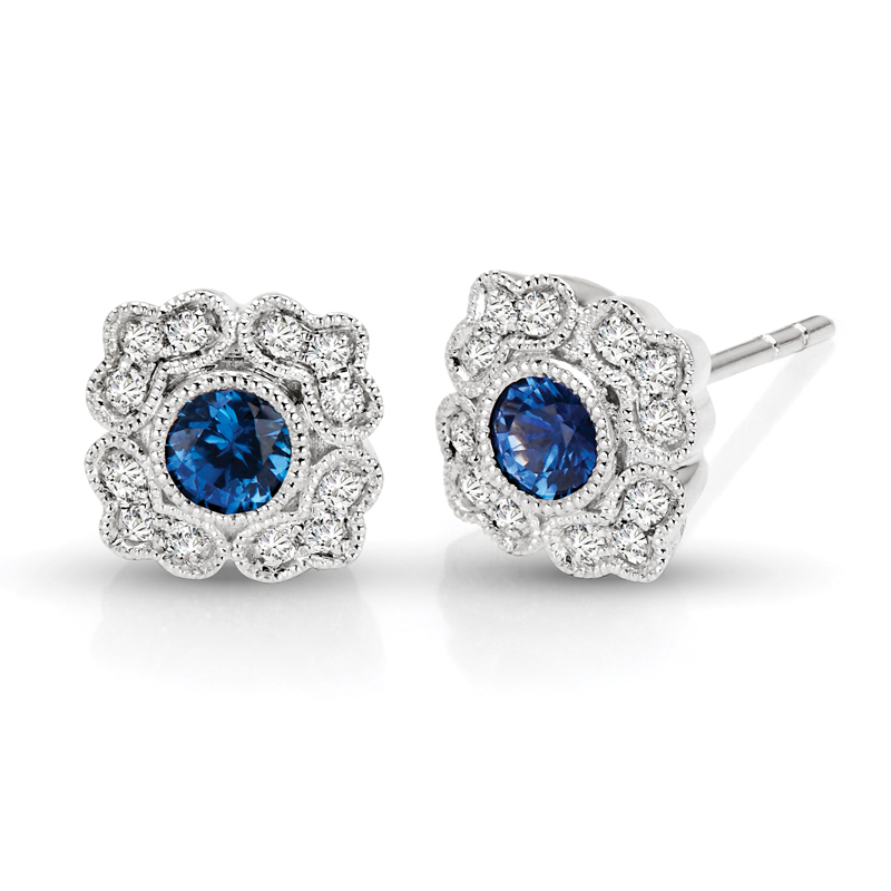 Sapphire Floral & Diamond Vintage Earrings