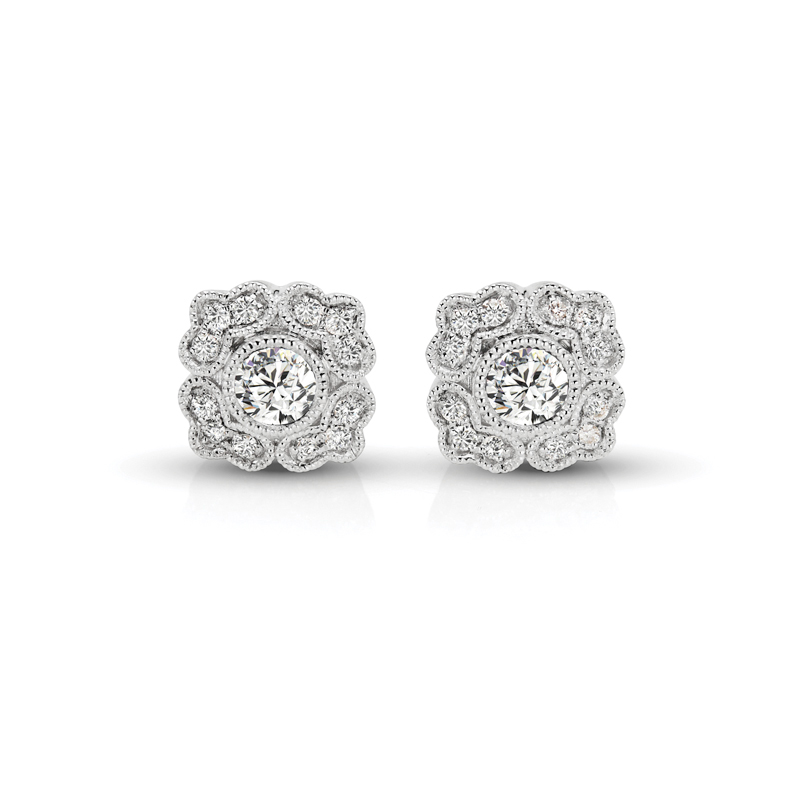 Floral Diamond Vintage Earrings