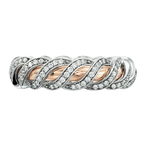 Two-Tone 14K White & Rose Gold Round Diamond Nadaré Wedding Band 0.72 tcw.