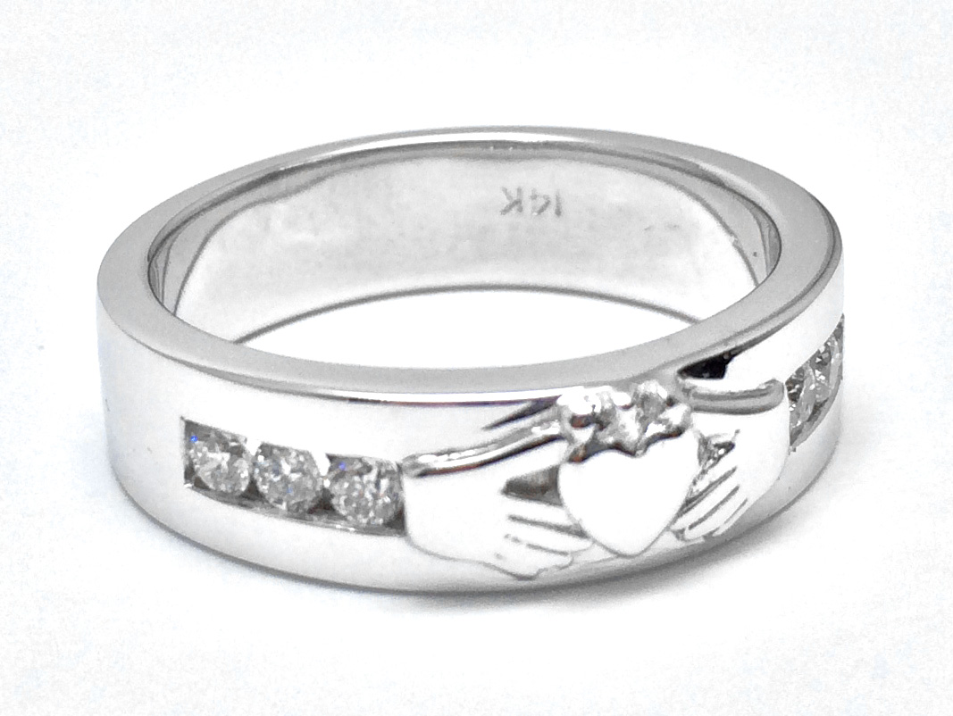 Claddagh Wedding Band Round Diamonds 0.30 tcw. Channel Set In 14K White Gold