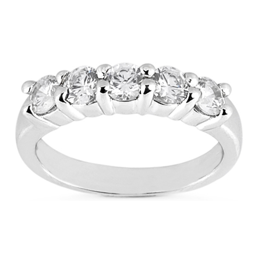Five Stone Diamond Wedding Band, 1.25 tcw. Prong Set In 14k White Gold