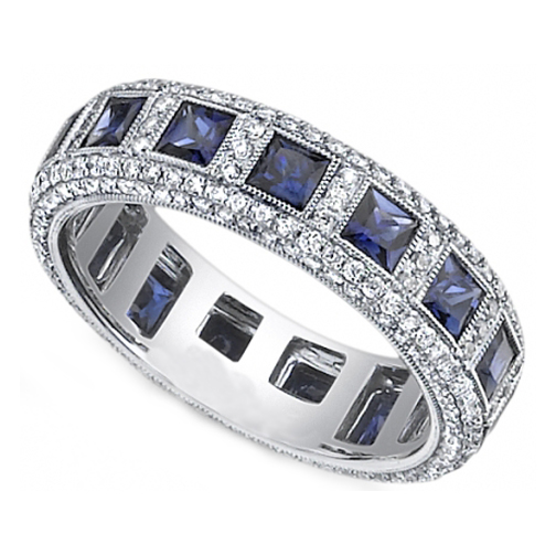 Princess Blue Sapphire & Round Diamond Eternity Wedding Band Bezel Set in 14K White Gold