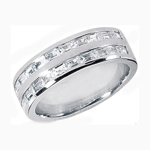 Straight Baguette Men 39s Wedding Band 173 tcw Channel Set in 14K White Gold