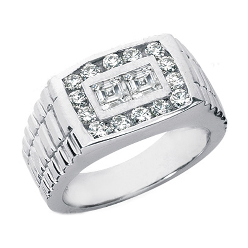 Asscher and Round Diamonds Men's Wedding Band 1.50 tcw.