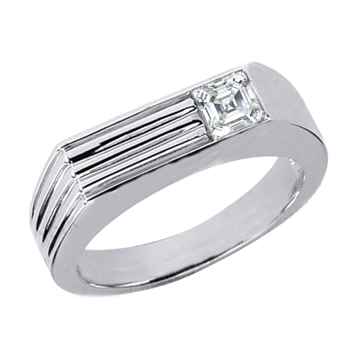 Solitaire Asscher Cut Diamond Men's Wedding Band 0.25 Carat Prong Set in 14 Karat White Gold