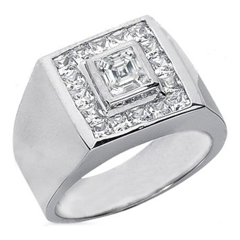 Asscher Cut Diamond Men's Wedding Band with Channel set Princess diamonds 1.62 tcw.