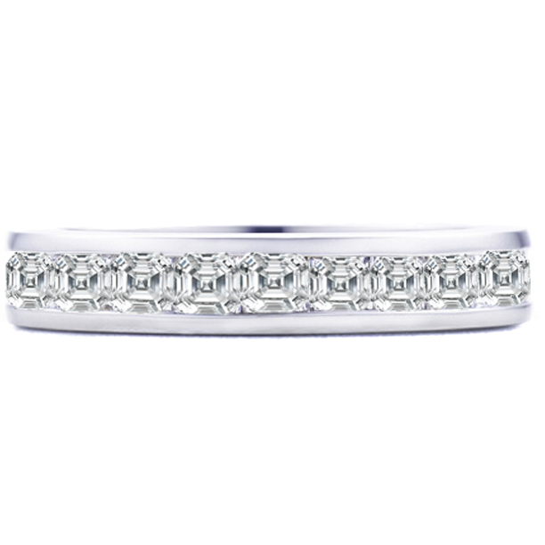 Asscher Diamond Eternity Wedding Band 3.15 tcw. Channel Set in 14K White gold