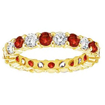 Round Diamond & Ruby Eternity Wedding Band 1.20 tcw. In 14K Yellow Gold