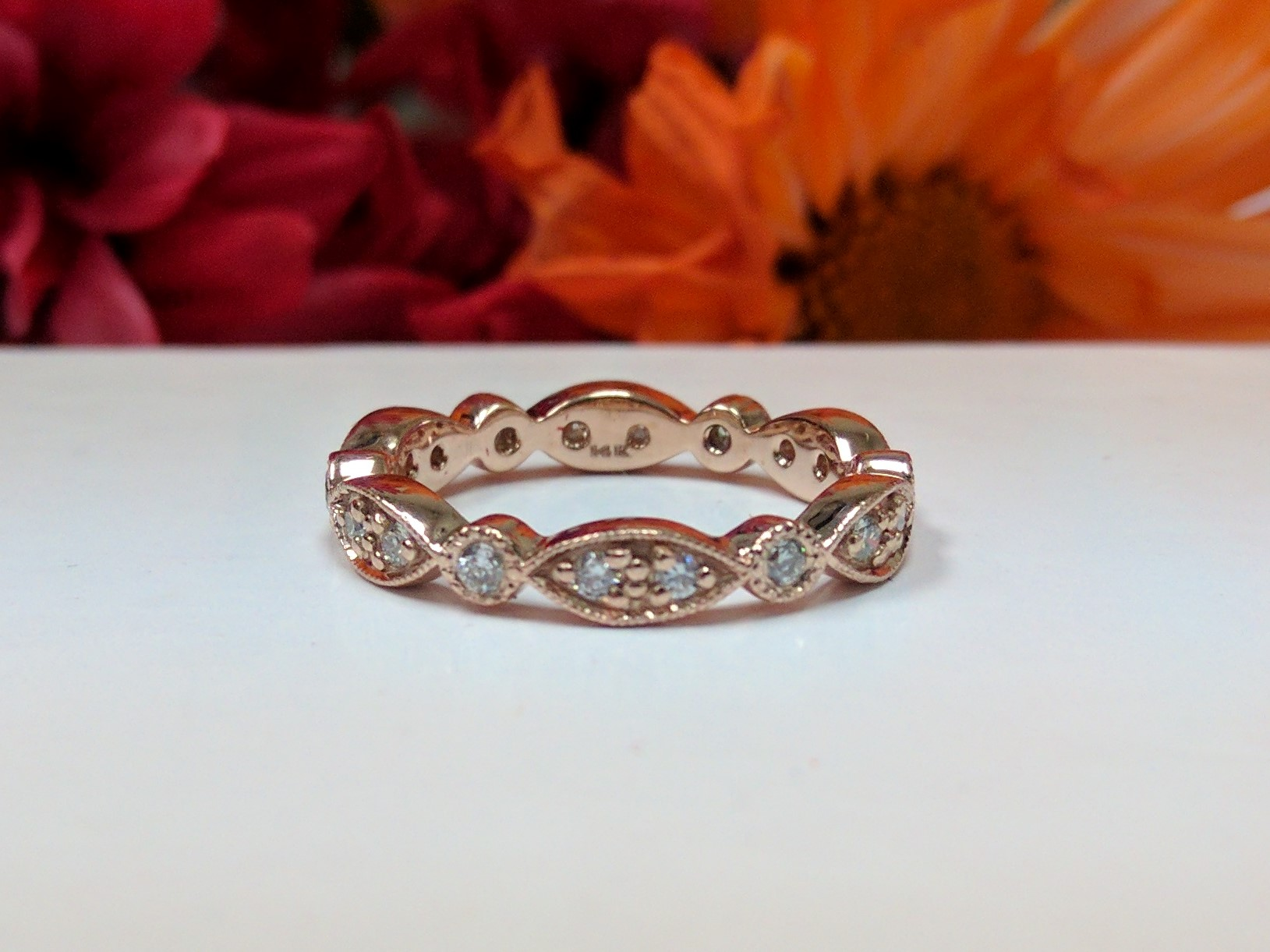 Petite Round Diamond Swing Band in  Rose Gold