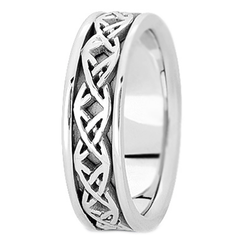 14K White Gold Intertwined Engraved Men's Wedding Band