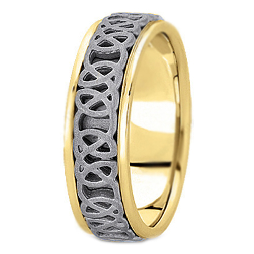 14K Yellow and White Gold Intertwined Engraved Men's Wedding Ring