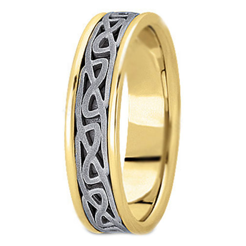 Two Tone 14K White & Yellow Gold Engraved Men's Intertwined Wedding Band