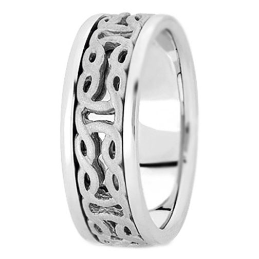 Platinum Engraved Men's Intertwined Wedding Ring