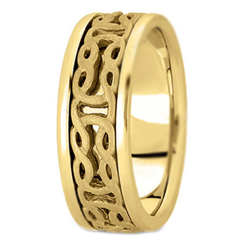 14K Yellow Gold Intertwined Engraved Men's Wedding Ring