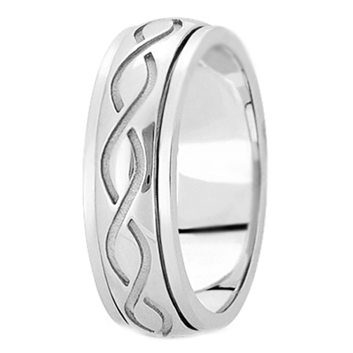 950 Platinum Intertwined Engraved 7mm Men's Wedding Ring