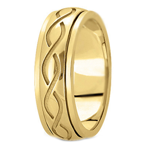 14K Yellow Gold 7mm Intertwined Engraved Men's Wedding Ring