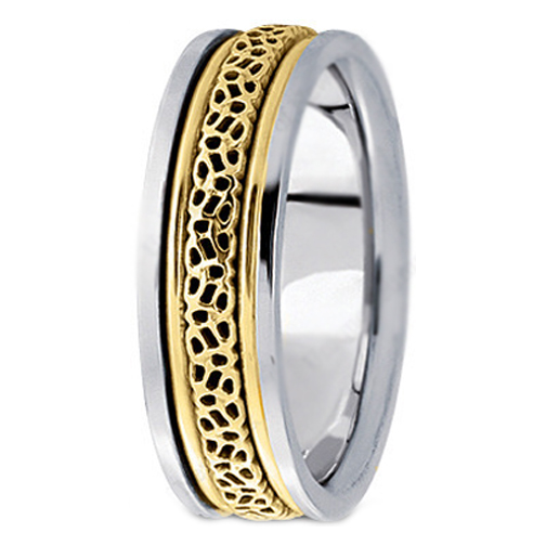 Two-Tone 14K White & Yellow Gold Intertwined Engraved Men's Wedding Ring 6.5 mm