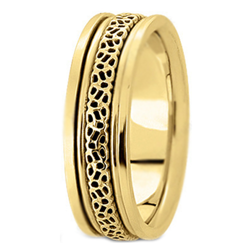 14K Yellow Gold 6.5 mm Men's Intertwined Engraved Wedding Ring