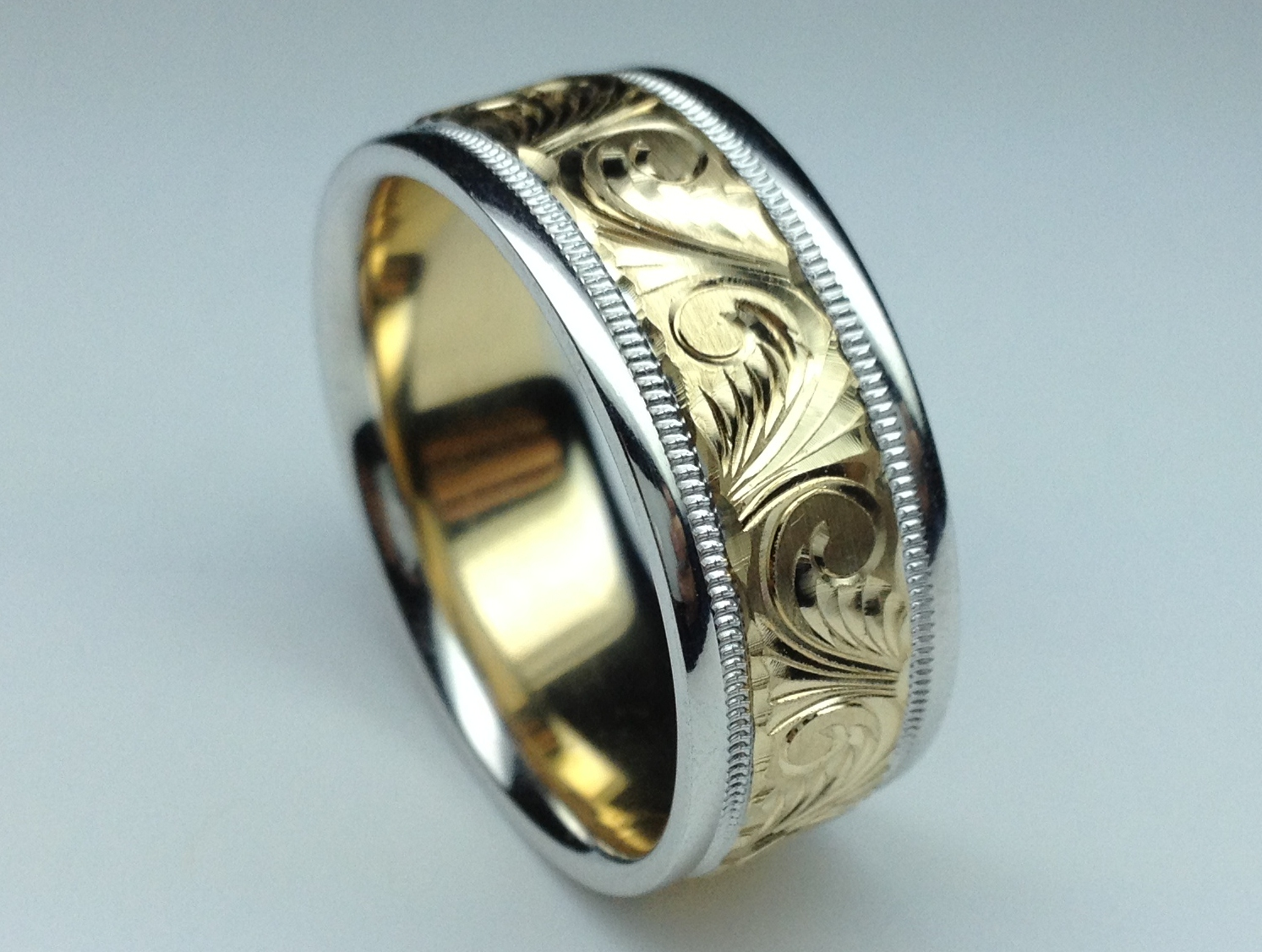 cz hand engraved rings titanium wedding band ring p stone customized