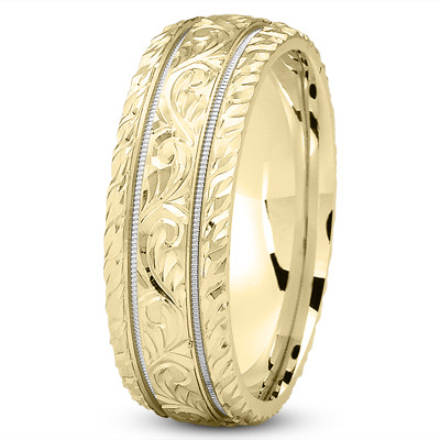 Diamond Cut Yellow & White Wedding Band