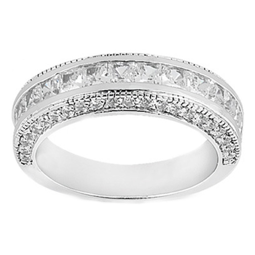 Princess Diamond Wedding Ring 0.97 tcw. Channel Set In 14K White Gold