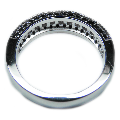 Princess Diamonds & Pave Round Black Diamonds  Wedding Ring 0.97 tcw. Channel Set In 14K White Gold