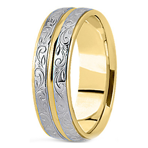 14K Yellow and White Gold 9 mm Antique Engraved Men's Wedding Ring