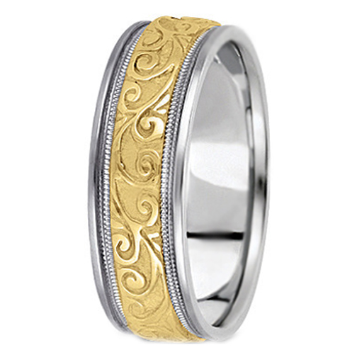 Two-Tone 14K White & Yellow Gold Engraved Leaves Milligrained edges Men's Wedding Ring 6.5 mm