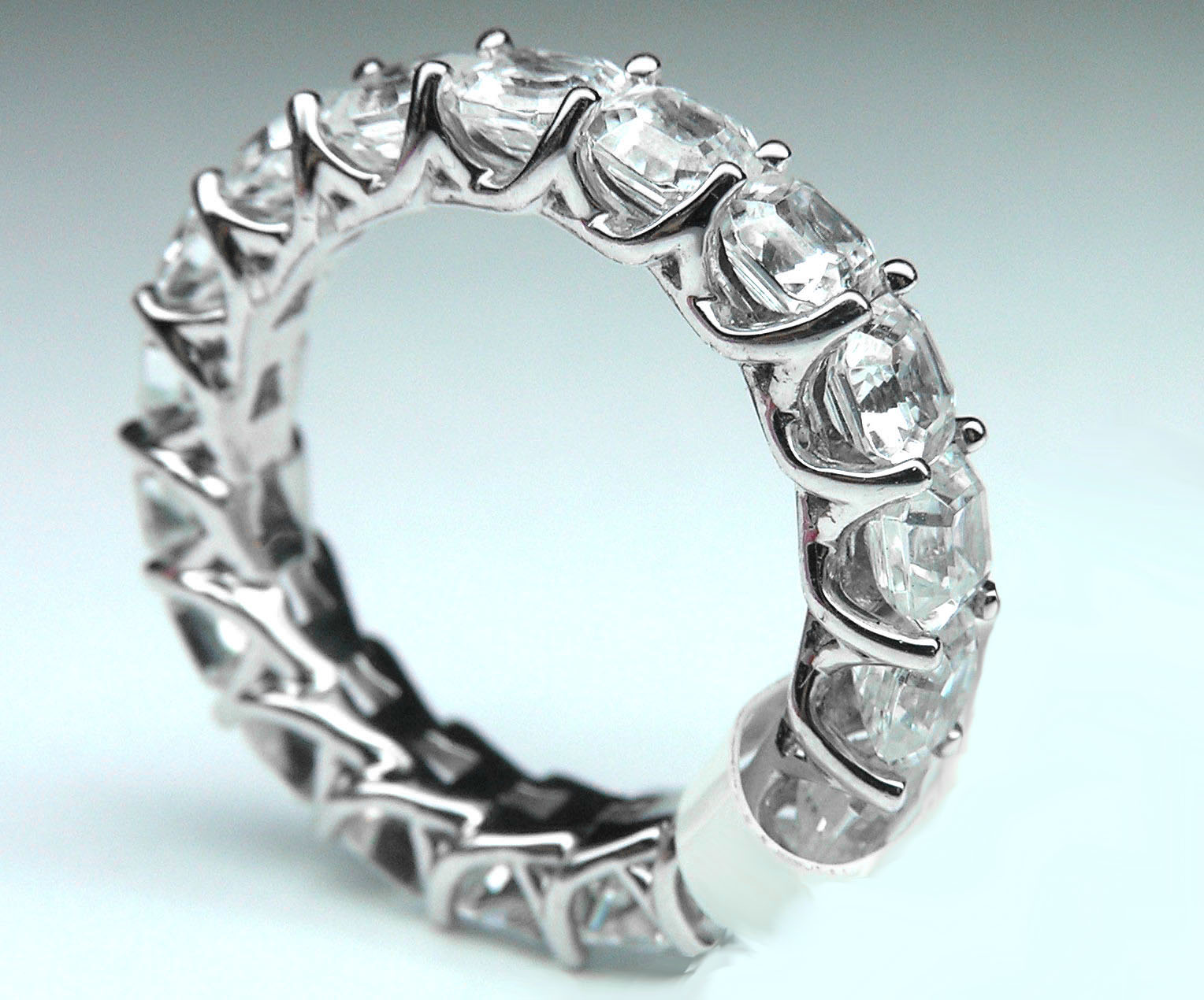 Asscher Diamond Trellis Eternity Ring