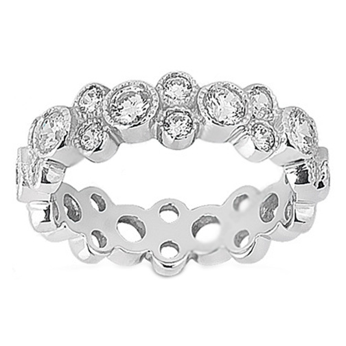 Garland Diamond Bezel Eternity Wedding Ring 1.44 Carat in Platinum